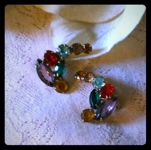Vintage Multi-color Rhinestone Curved Earrings